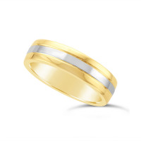 Gents 18ct Yellow Gold Heavy Weight Court Wedding Ring, With A 2.3mm 18ct White Gold Onlay, With A V Groove On Either Side Of The White Gold Band